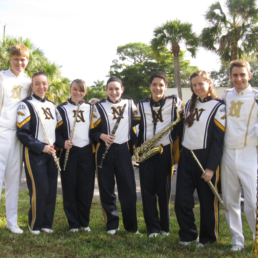 Naples High Band posing before parade