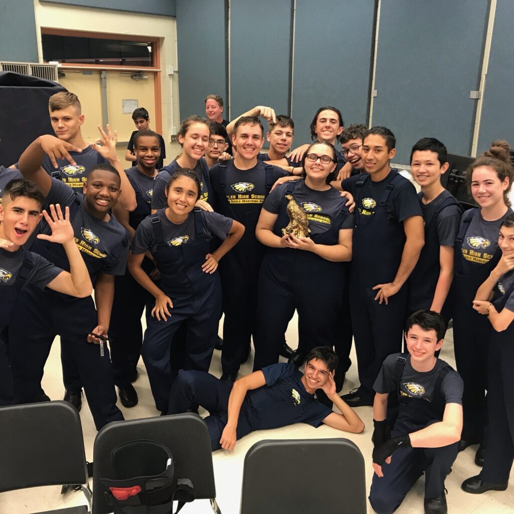 Naples High Band members striking a pose Bernard