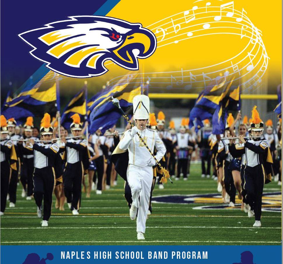 Naples High School Band Program featuring the Marching Band in performance with Logo and Music notes elements.